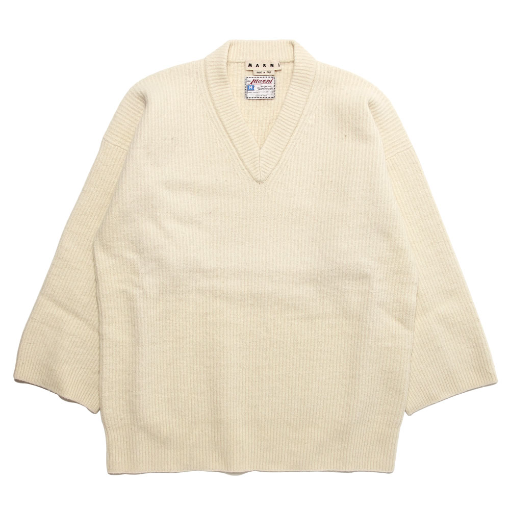 V-NECK HUGE KNIT PULLOVER IVORY