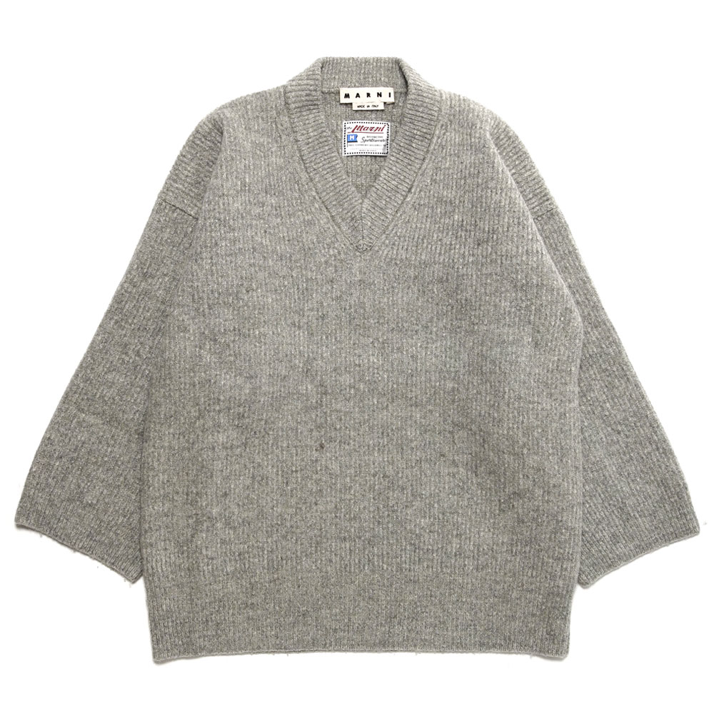 V-NECK HUGE KNIT PULLOVER GREY