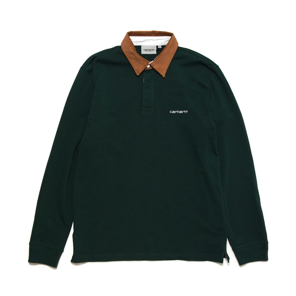 L/S CORD RUGBY POLO B.GREEN/H.BROWN