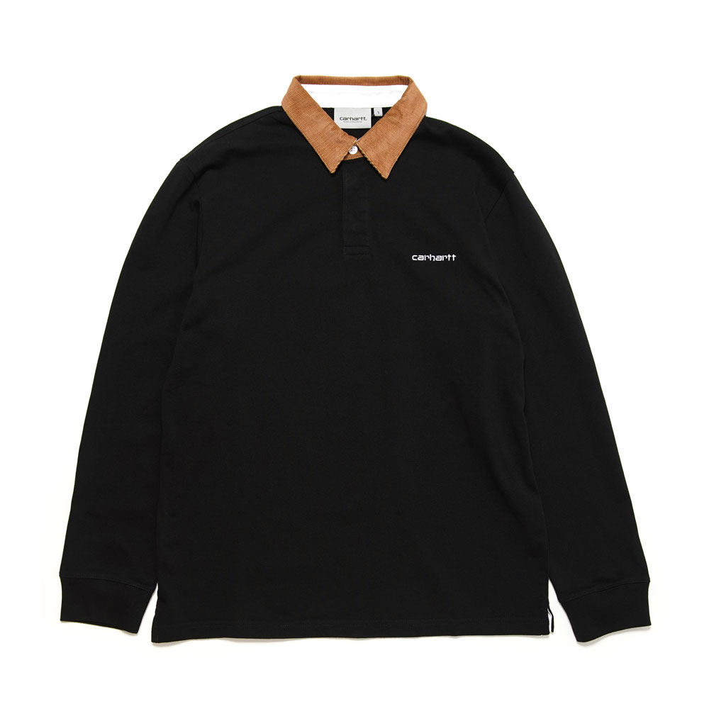L/S CORD RUGBY POLO BLACK/H.BROWN/WHITE