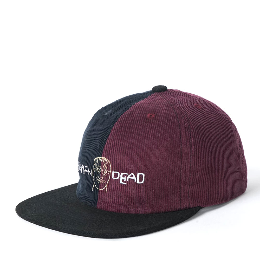 CORDUROY COLOR-BLOCKED STRAP BACK HAT NAVY/MAROON