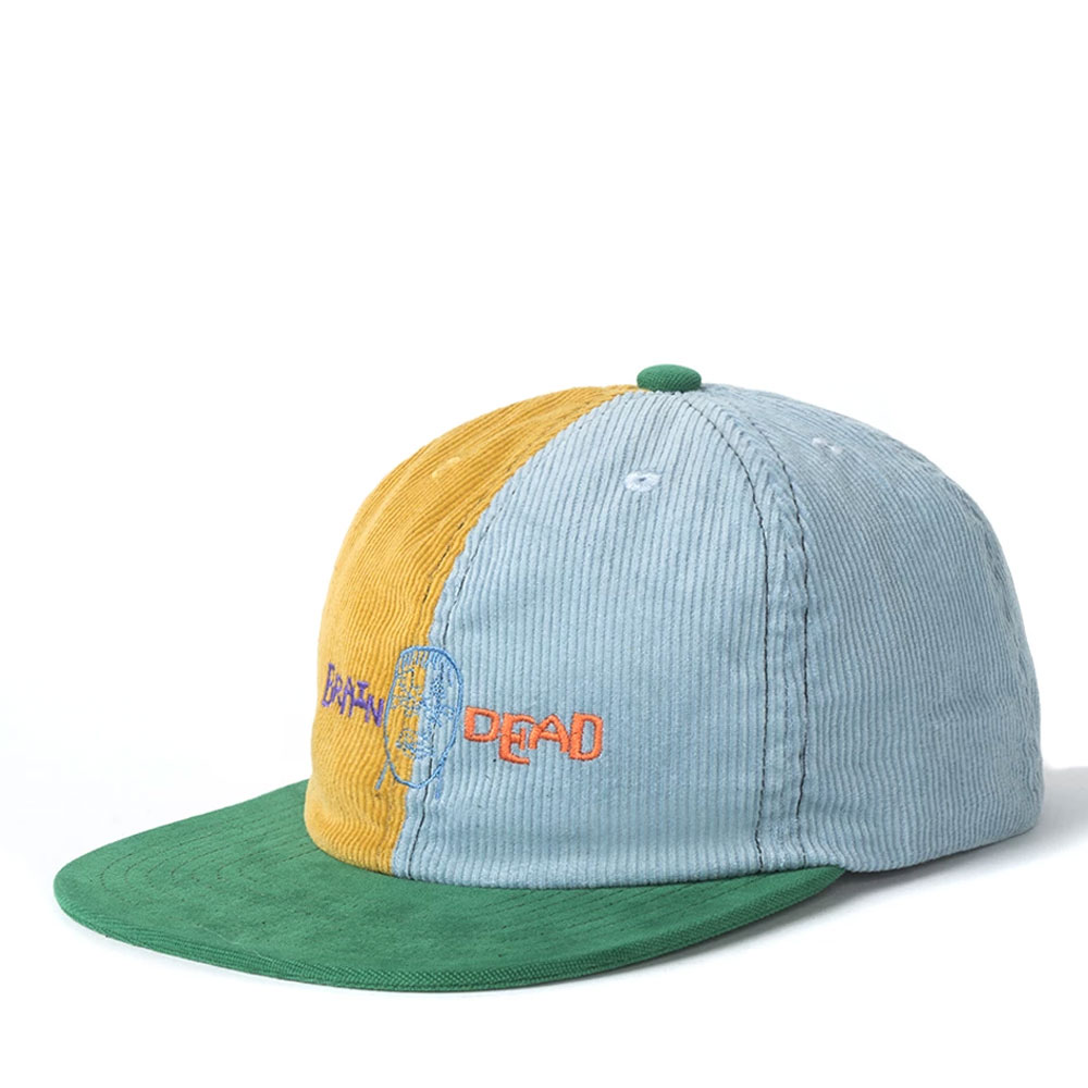 CORDUROY4COLOR-BLOCKED STRAP BACK HAT YELLOW/TEAL
