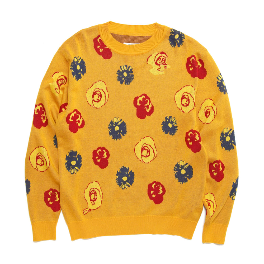 BOTANICAL KNITTED SWEATER MUSTARD