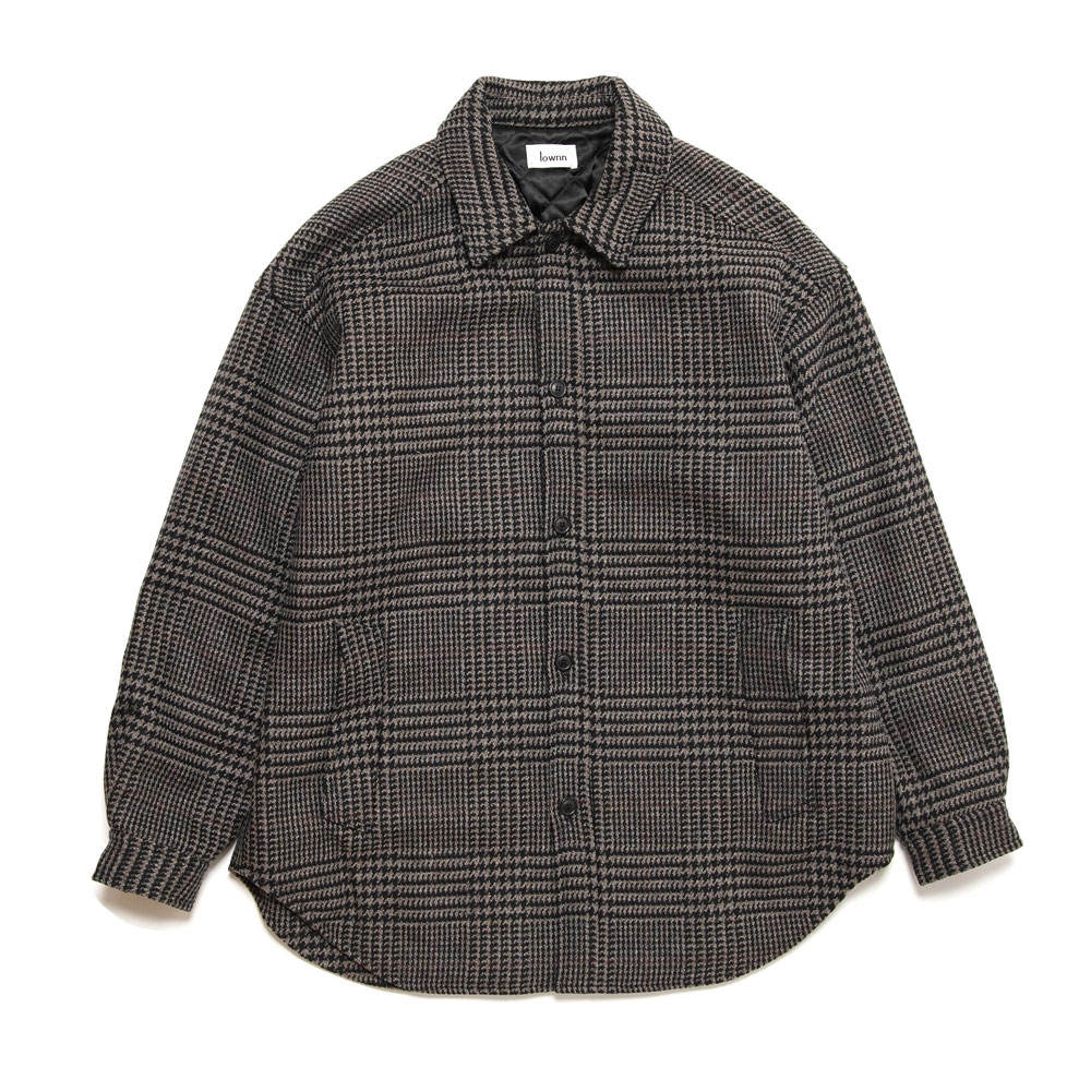 QUILTED SHIRT COAT LIGHT GREY CHECK