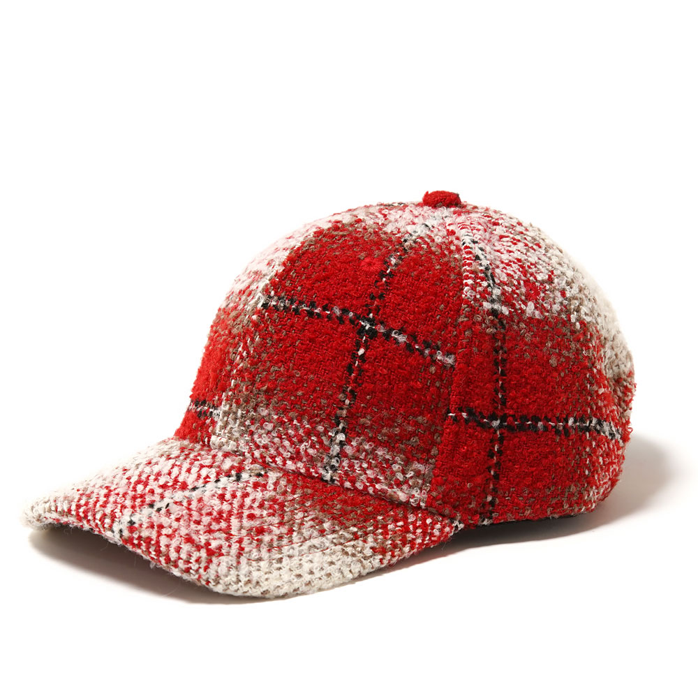 OVERSIZED FLANNEL PRE-CURVED STRAPBACK RED/CREAM PLAID