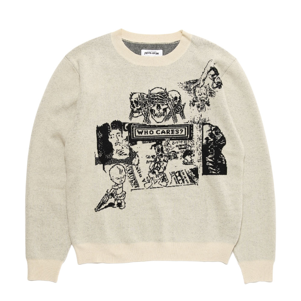 WHO CARES SWEATER WHITE W/BLACK ART