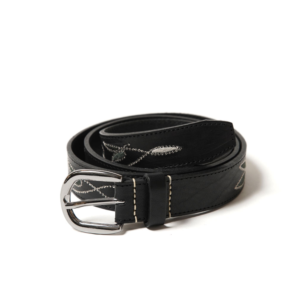 FOLIAGE STITCH BELT BLACK LEATHER