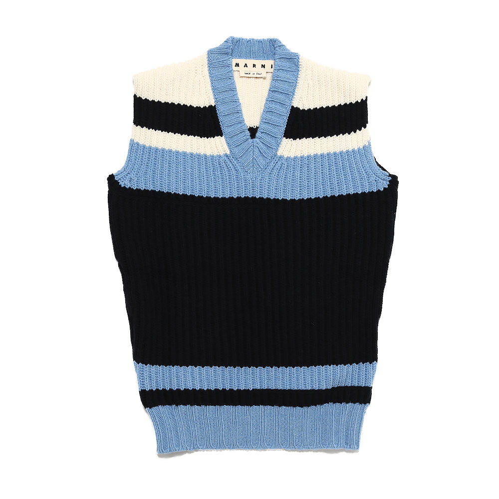 LOW GAUGE KNIT VEST LIGHT BLUE