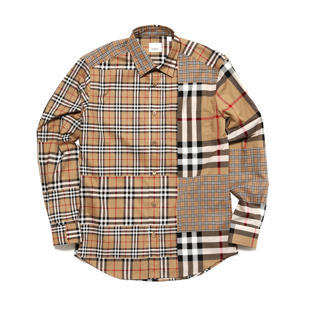 CLASSIC FIT PATCH WORK CHECK SHIRT A.BEIGE