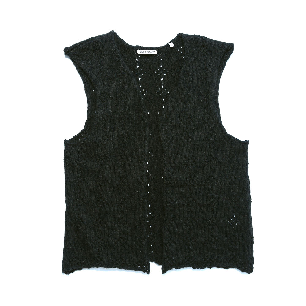 CROCHET VEST COARSE BLACK WOOL