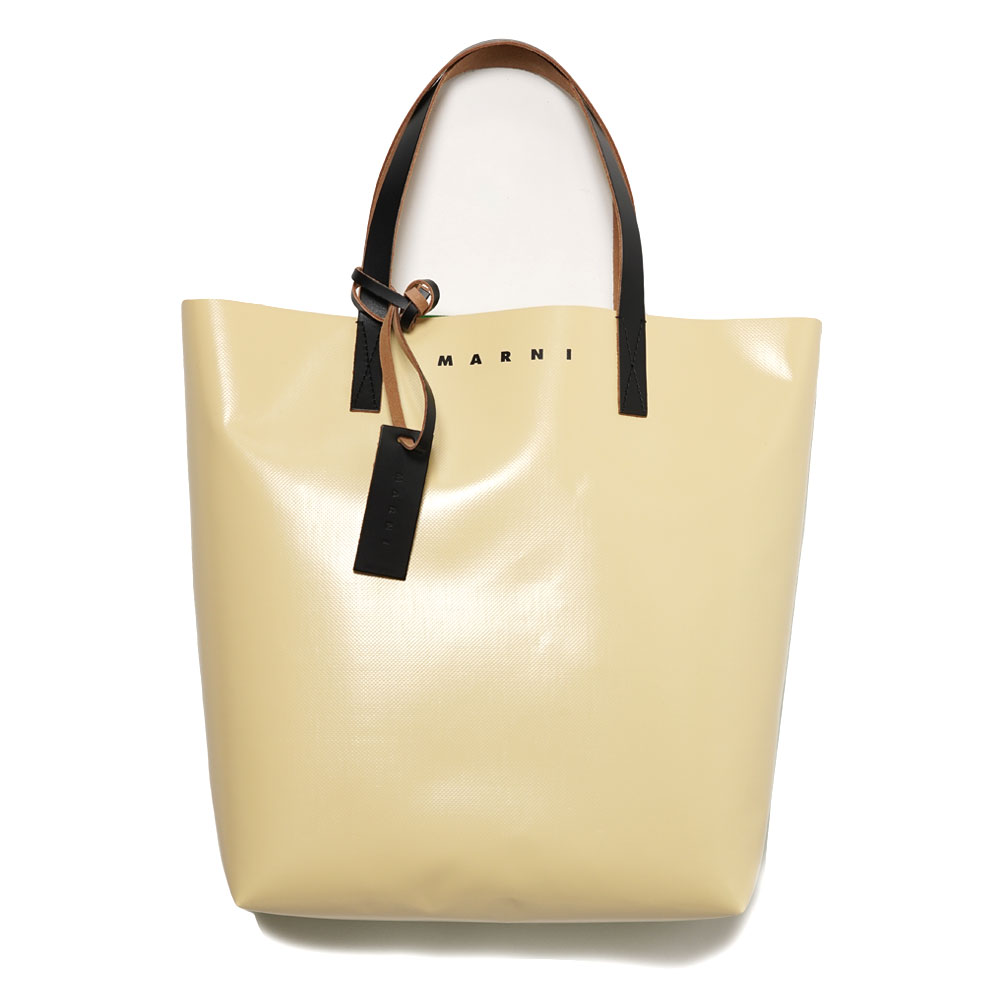 PVC SHOPPING BAG CREAM/GREEN