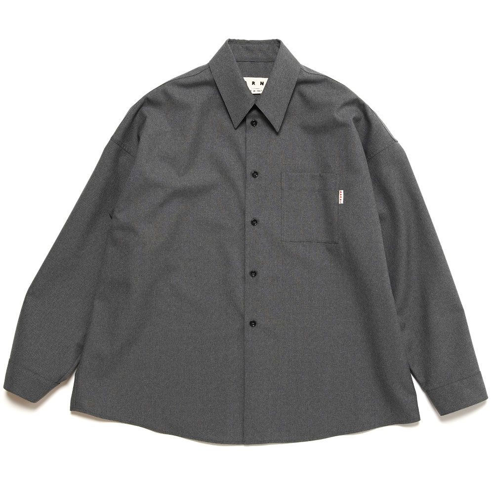 CHEST POCKET WOOL SHIRT GREY