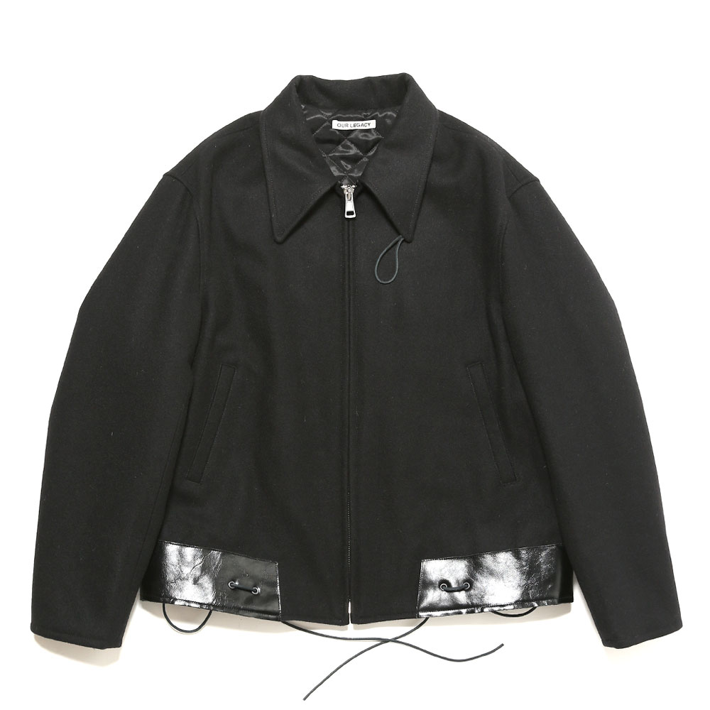 LEATHER HEM JACKET BLACK WOOL