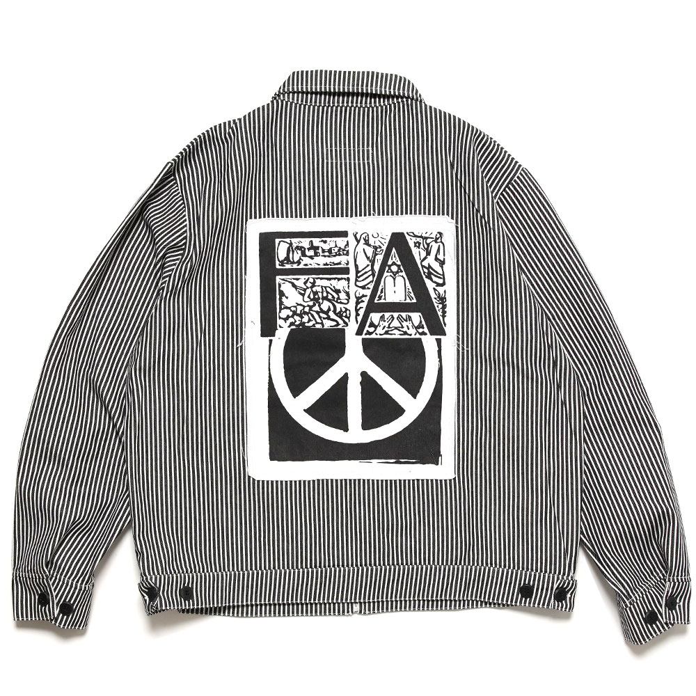 PEACE WORK JACKET BLACK WHITE STRIPED