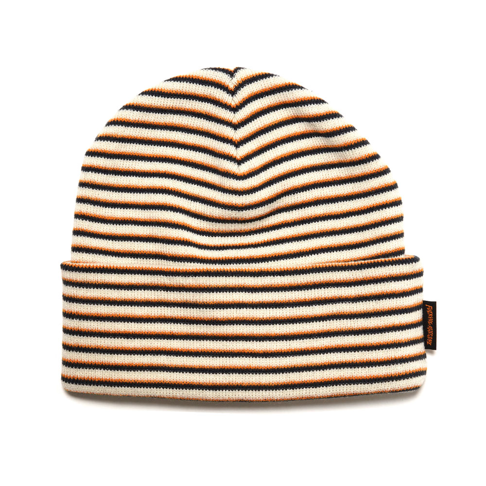 STRIPED CUFF BEANIE OFF WHITE ORANGE