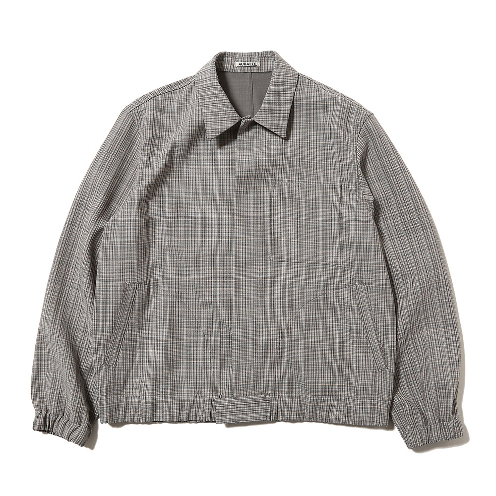 HARD TWIST WOOL DOUBLE FACE CHECK BLOUZON GRAY CHECK