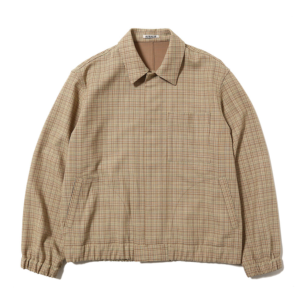 HARD TWIST WOOL DOUBLE FACE CHECK BLOUZON BEIGE CHECK
