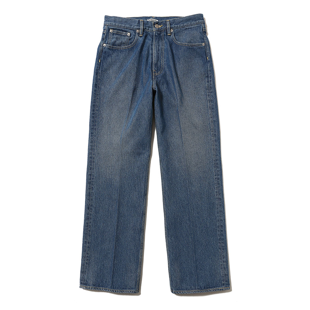 WASHED HARD TWIST DENIM 5P PANTS LIGHT INDIGO