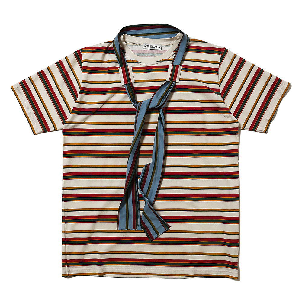 PRINTED STRIPE AND TIE SHORT SLEEVE T-SHIRT