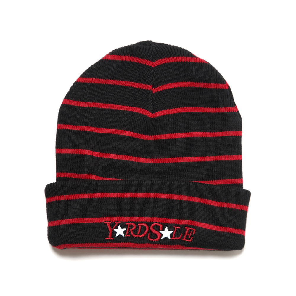 STRIPE BEANIE BLACK/RED