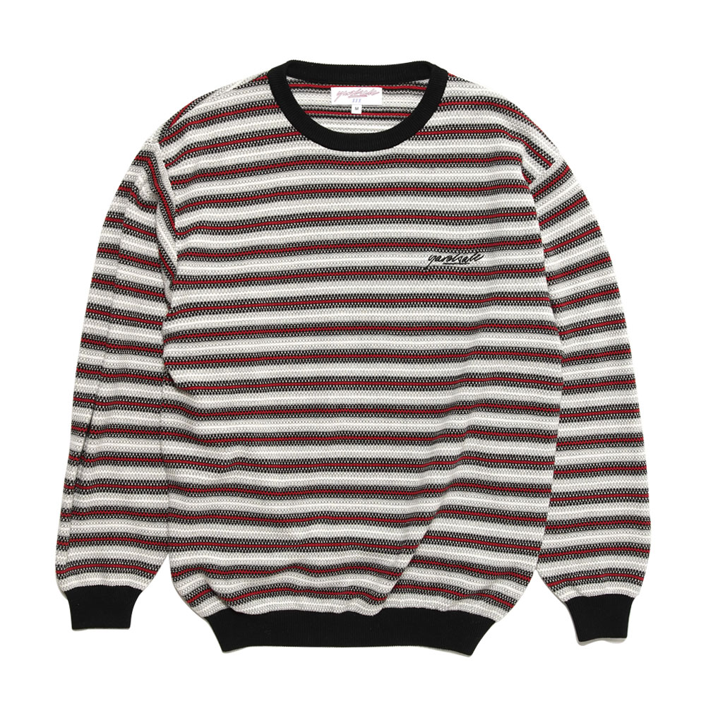 STRIPE KNIT CREW WHITE/RED
