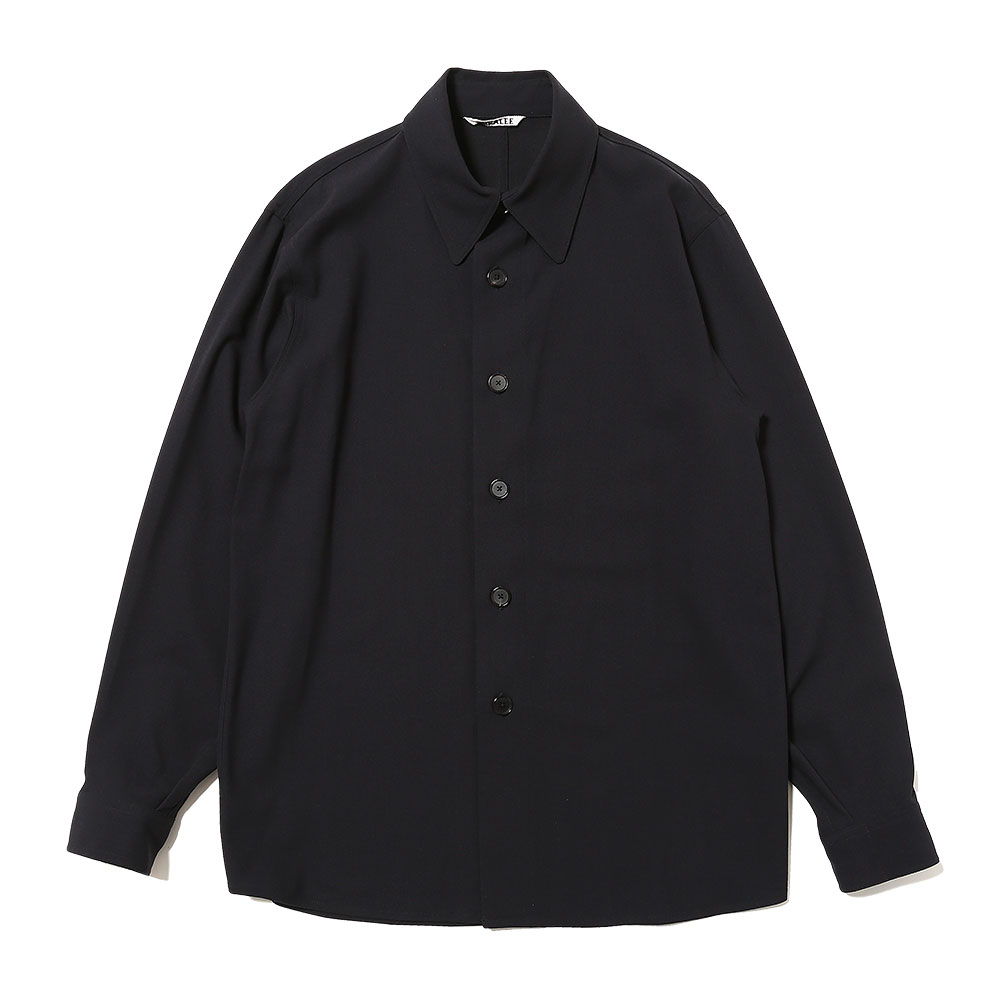 HARD TWIST WOOL DOBBY SHIRTS DARK NAVY