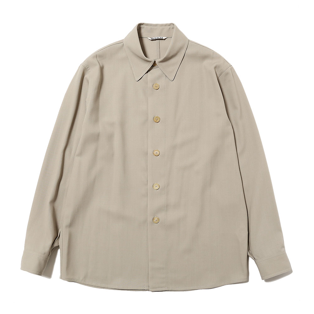 HARD TWIST WOOL DOBBY SHIRTS LIGHT GREY