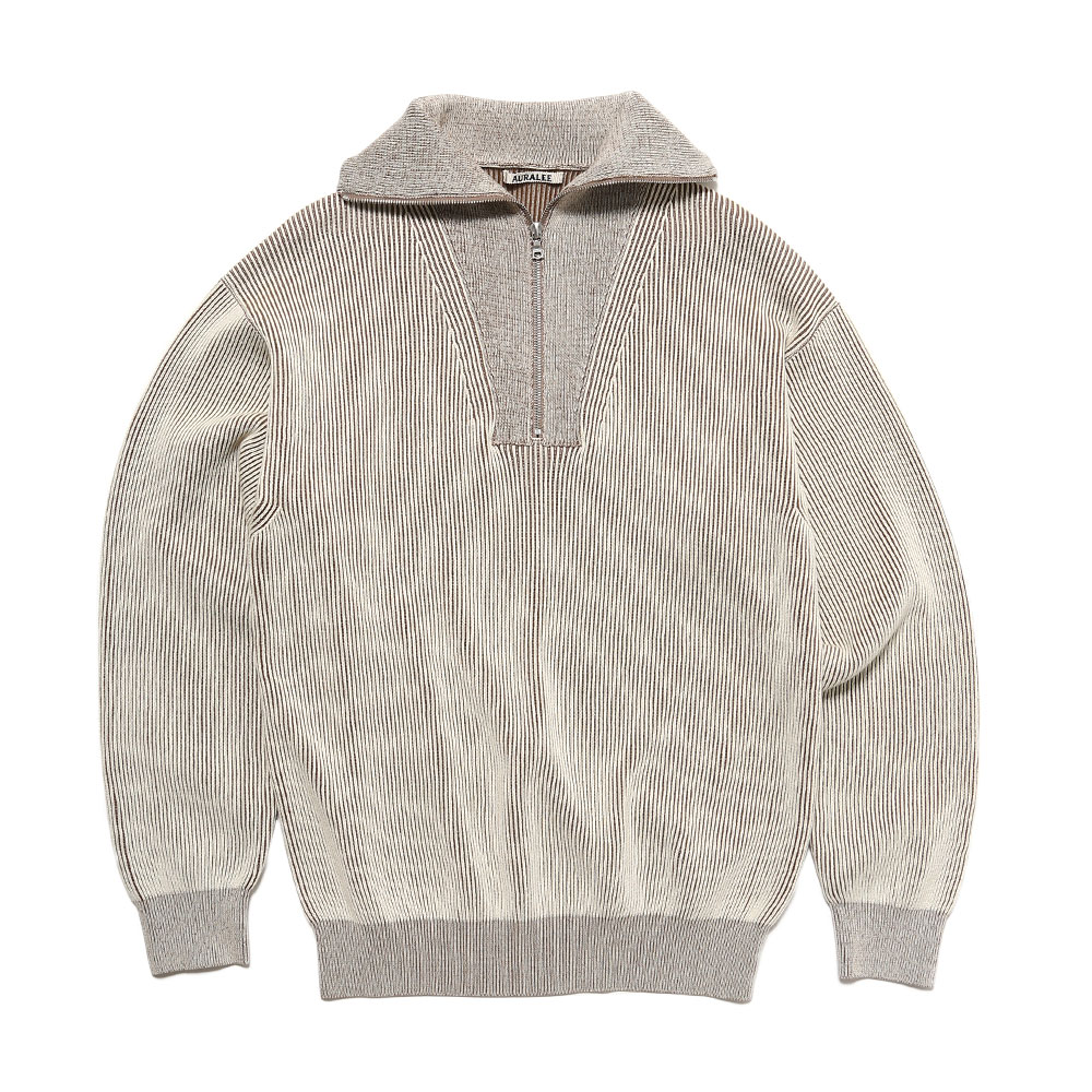 SUPER HARD TWIST RIB KNIT HALF ZIP P/O MIX LIGHT BEIGE