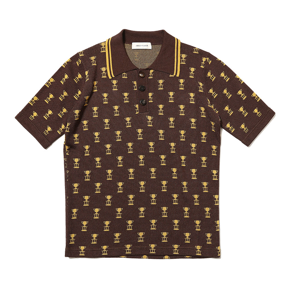 TROPHY JACQUARD POLO BROWN/GOLD