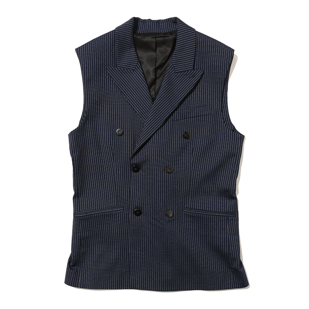 SLEEVELESS DOUBLE BREASTED BLAZER NAVY PIN STRIPE